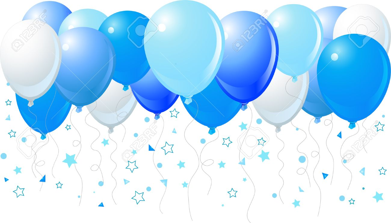 Vector illustration of the bunch of blue balloons flying up - 6190752