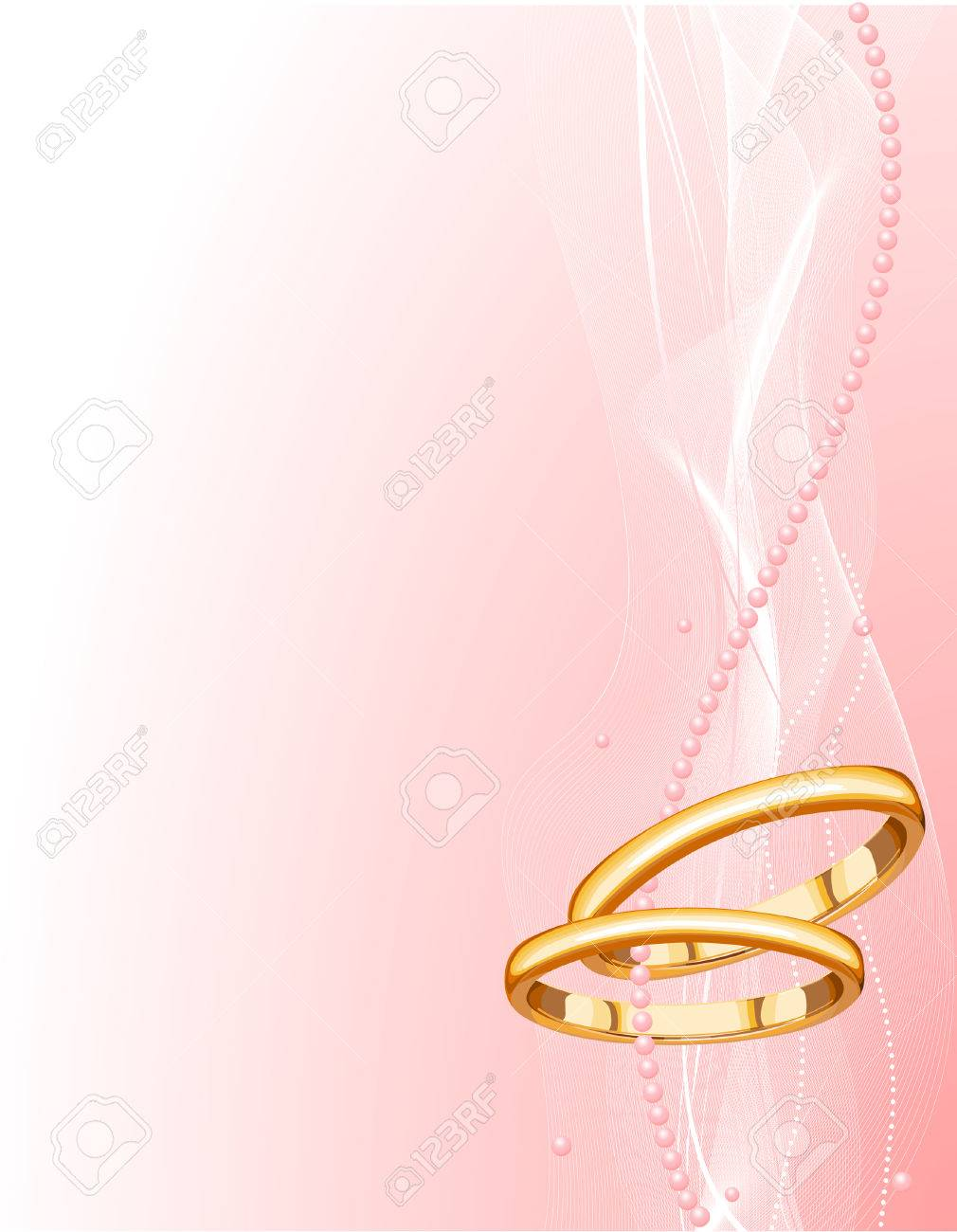 Illustrated Beautiful Wedding Rings Background With Place For ...