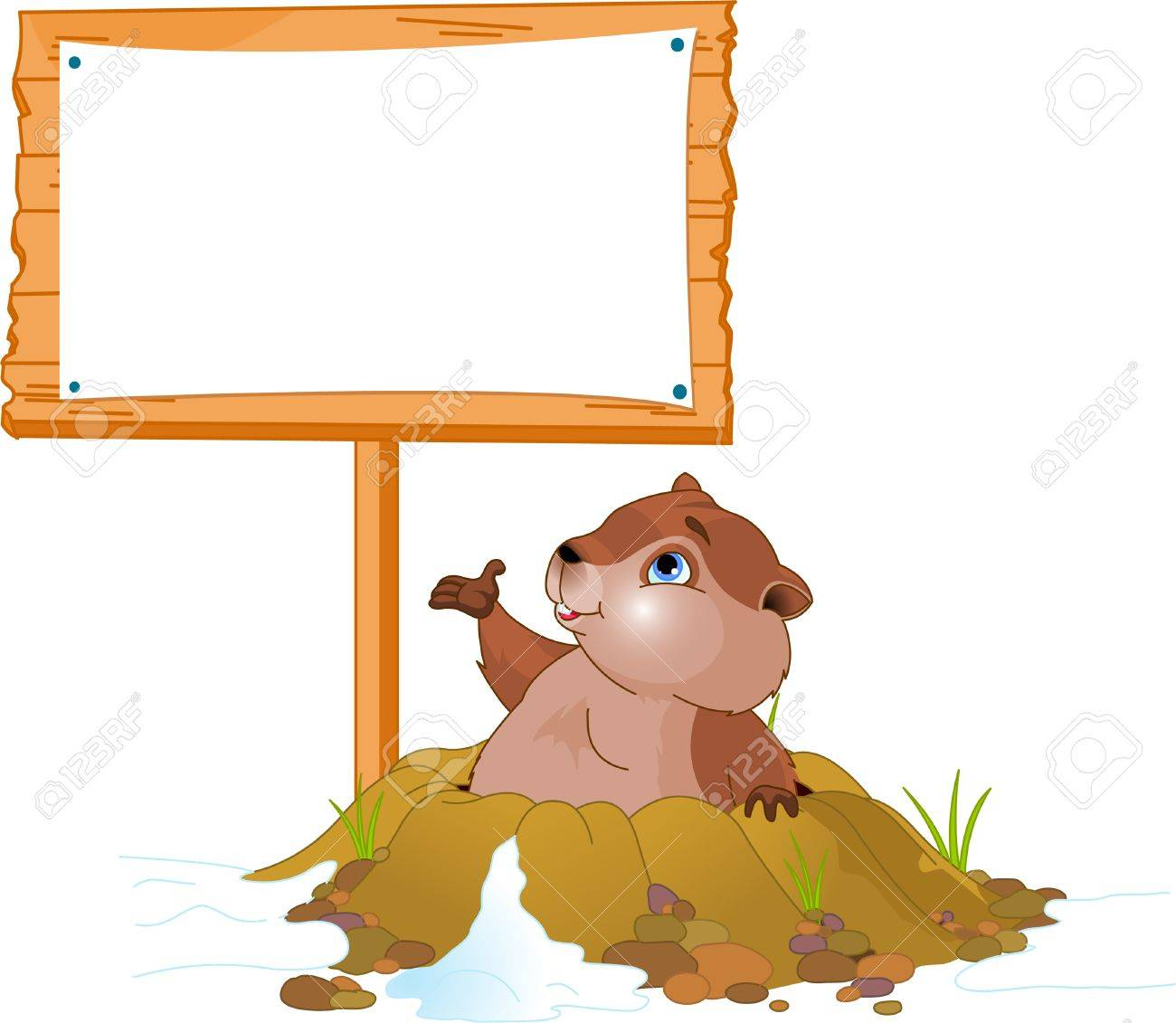 Vector illustration of a cute groundhog popping out of a hole near billboard Stock Vector - 6247204