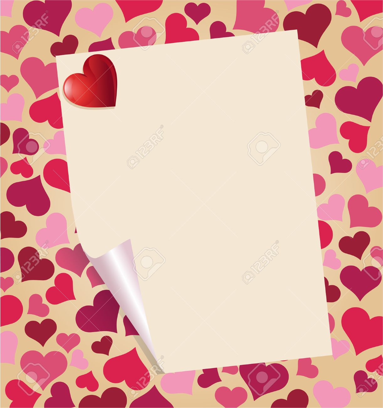 Love Letter With Heart Over Beautiful Valentine's Day Background