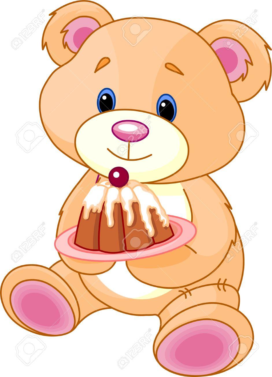 Cute Teddy Bear With Birthday Cake Illustration Stock Vector