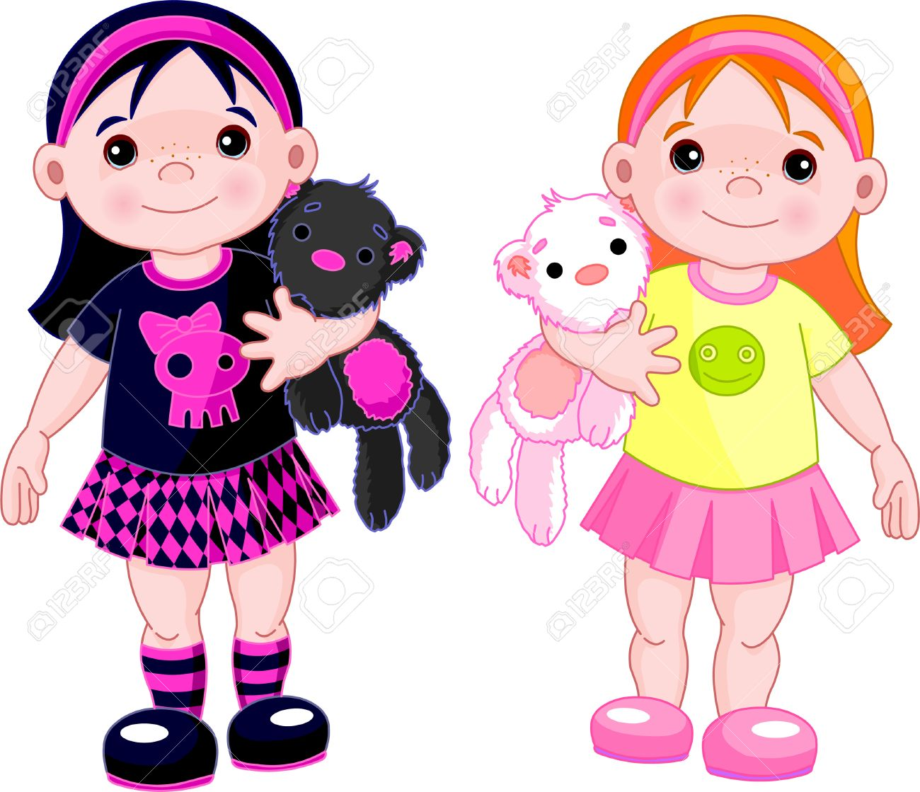 Cute little girls wearing different stile clothing Stock Vector - 6433320