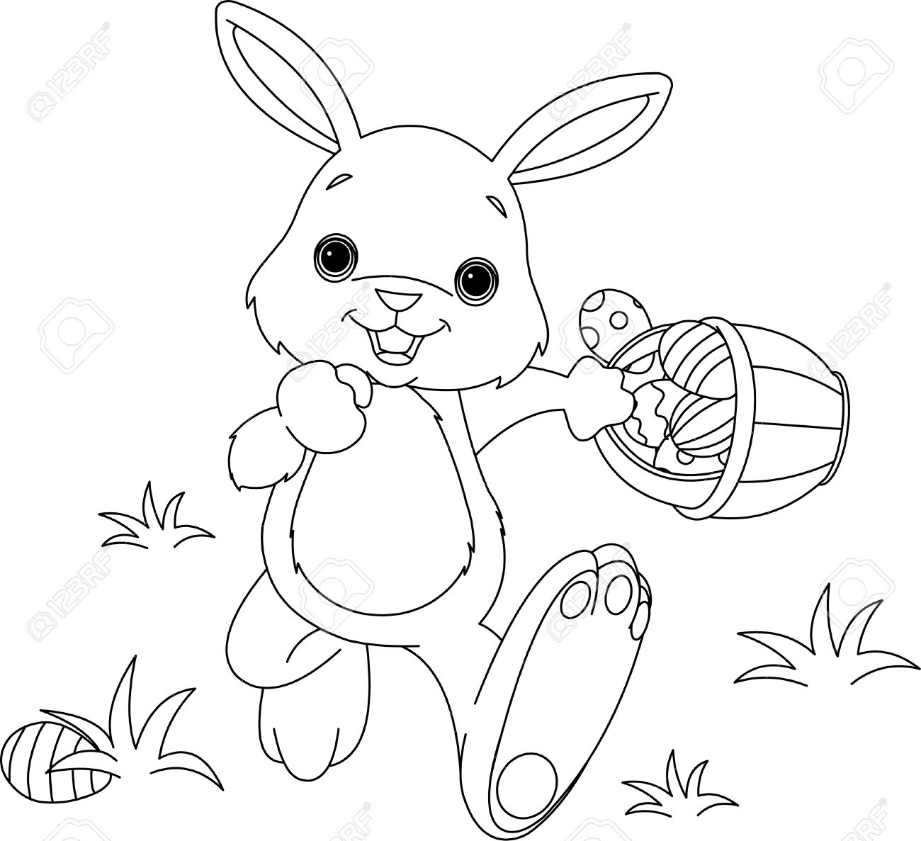 coloring page of easter bunny hiding eggs royalty free cliparts