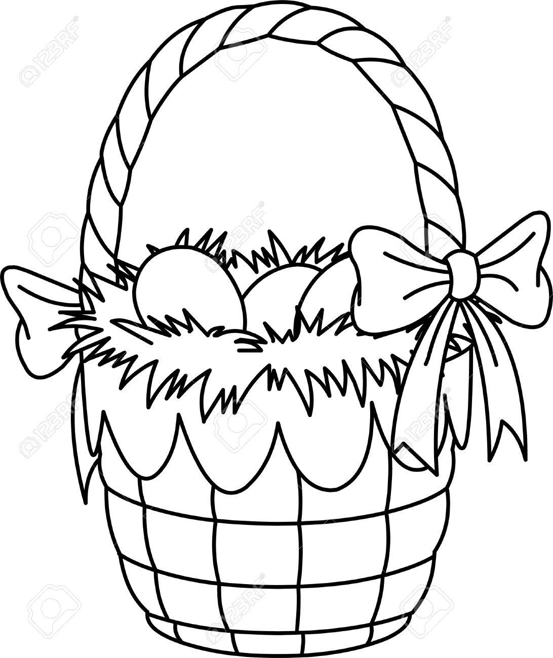 pretty easter basket coloring page royalty free cliparts vectors