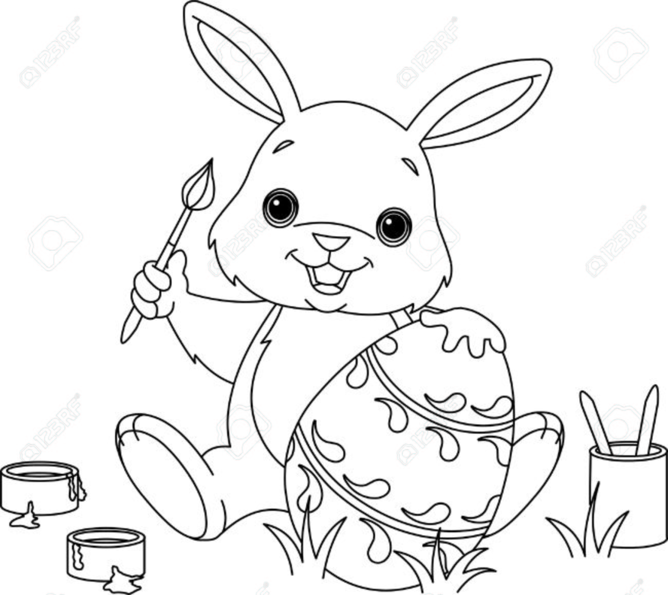 Coloring Page Of An Easter Bunny Painting An Egg Royalty Free ...