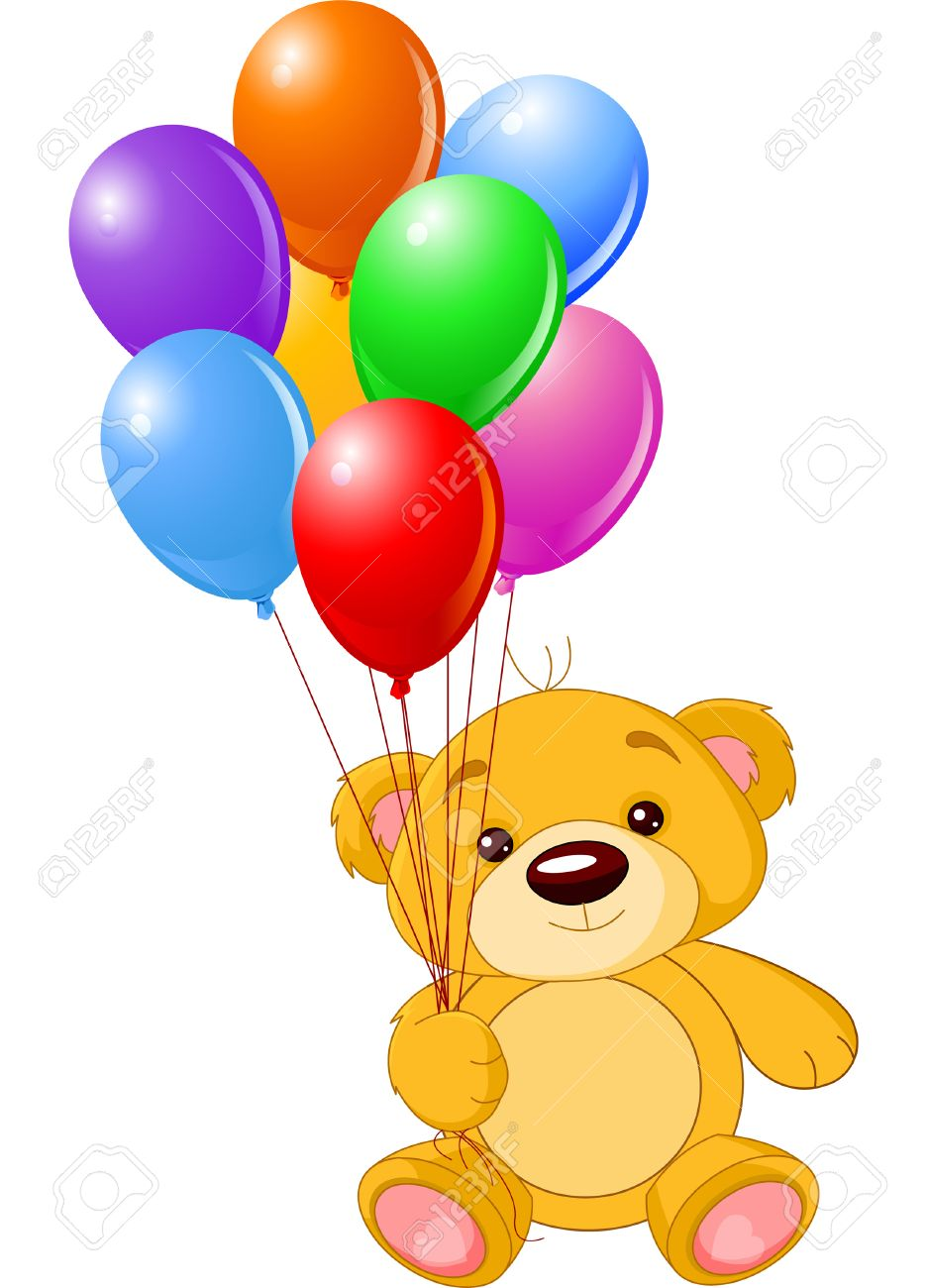 Vector illustration of cute little Teddy bear holding colorful balloons - 6523430
