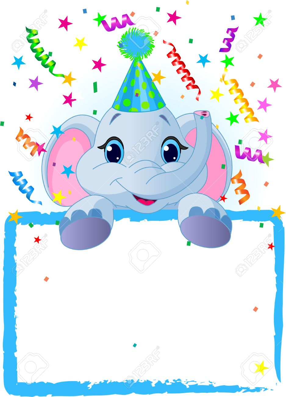 Adorable Baby Elephant Wearing A Party Hat, Looking Over A Blank Starry Sign With Colorful Confetti Stock Vector - 6568365