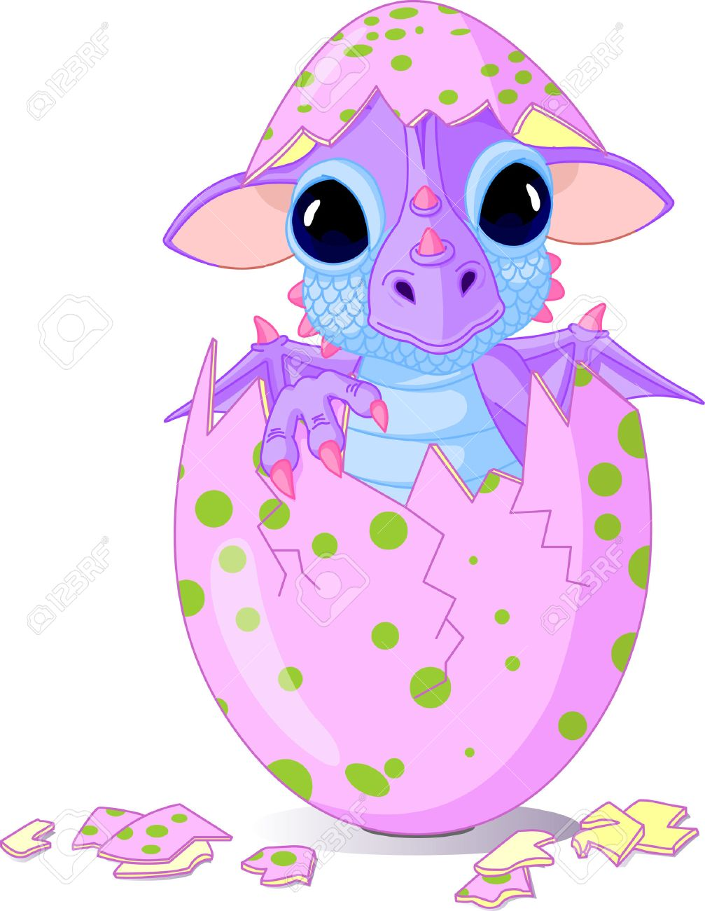Cute baby dragon hatched from one egg Stock Vector - 6779914
