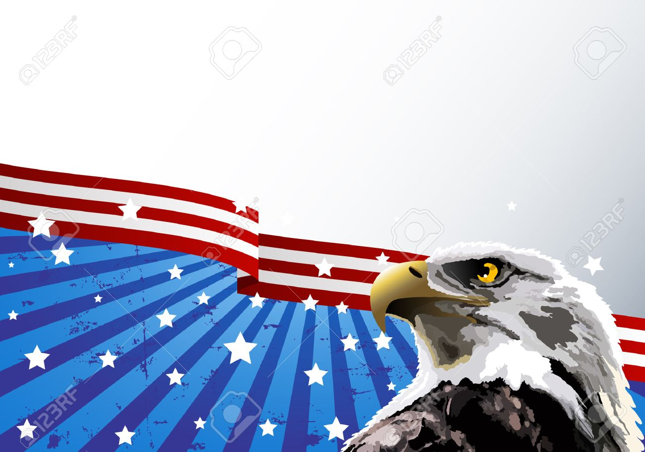 Bald eagle in front of an American flag. Stock Vector - 6779917