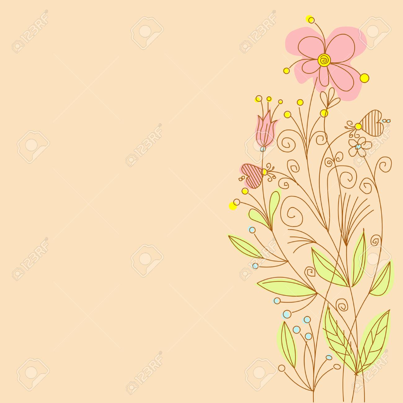 Greeting card with flowers and place for your text Stock Vector - 6870369