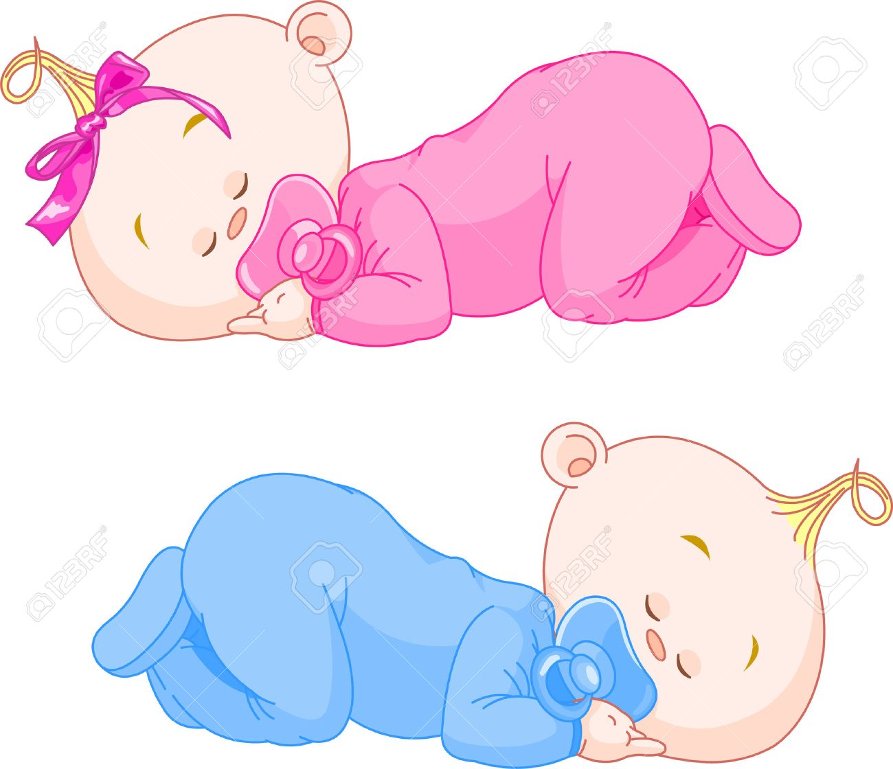 Two charming little twins sleep in pajamas Stock Vector - 6951028