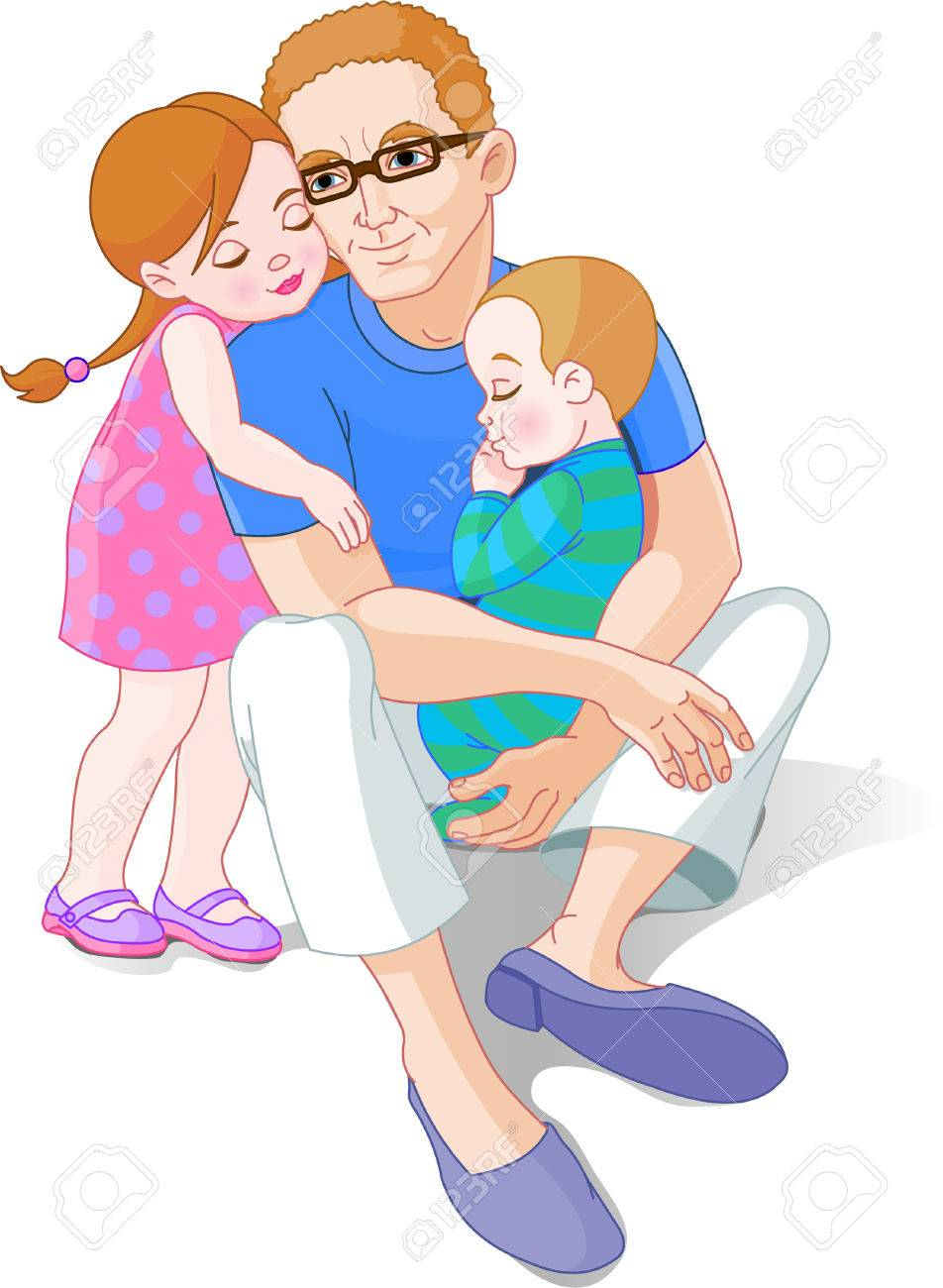 Family scene of Father with his little girl and baby Stock Vector - 6951094