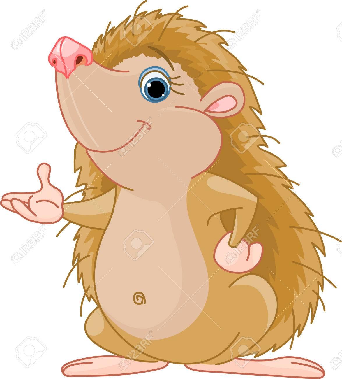 Cute little Hedgehog presenting Stock Vector - 6951068
