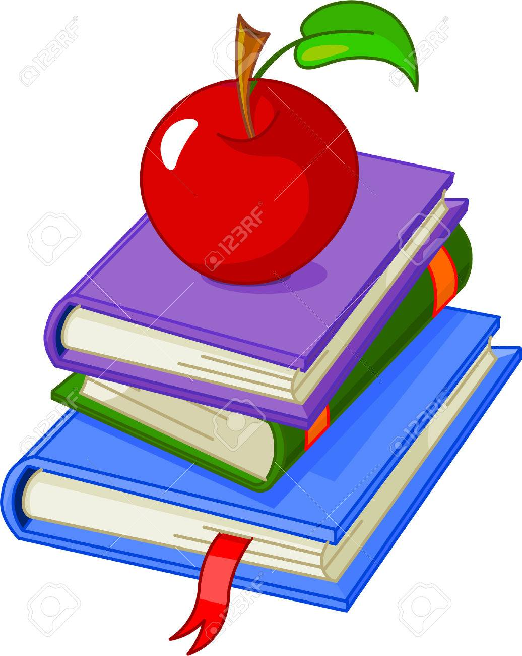 Pile book with red apple illustration, isolated on white background Stock Vector - 7056691