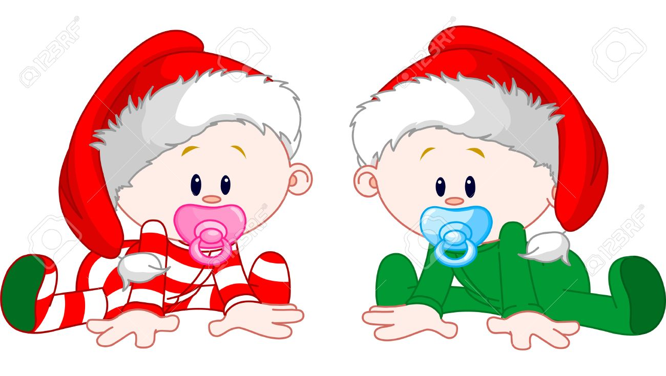 Two cute babies with Christmas costumes Stock Vector - 7082971