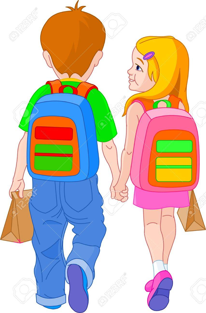 Illustration of girl and boy go to school Stock Vector - 7222725