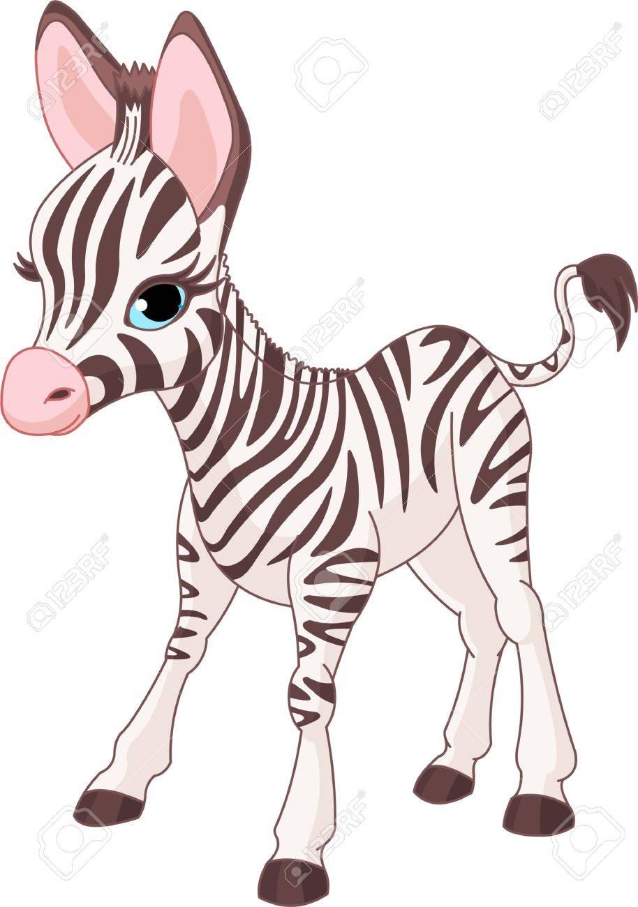 立っているかわいいシマウマ子馬のイラストのイラスト素材ベクタ
