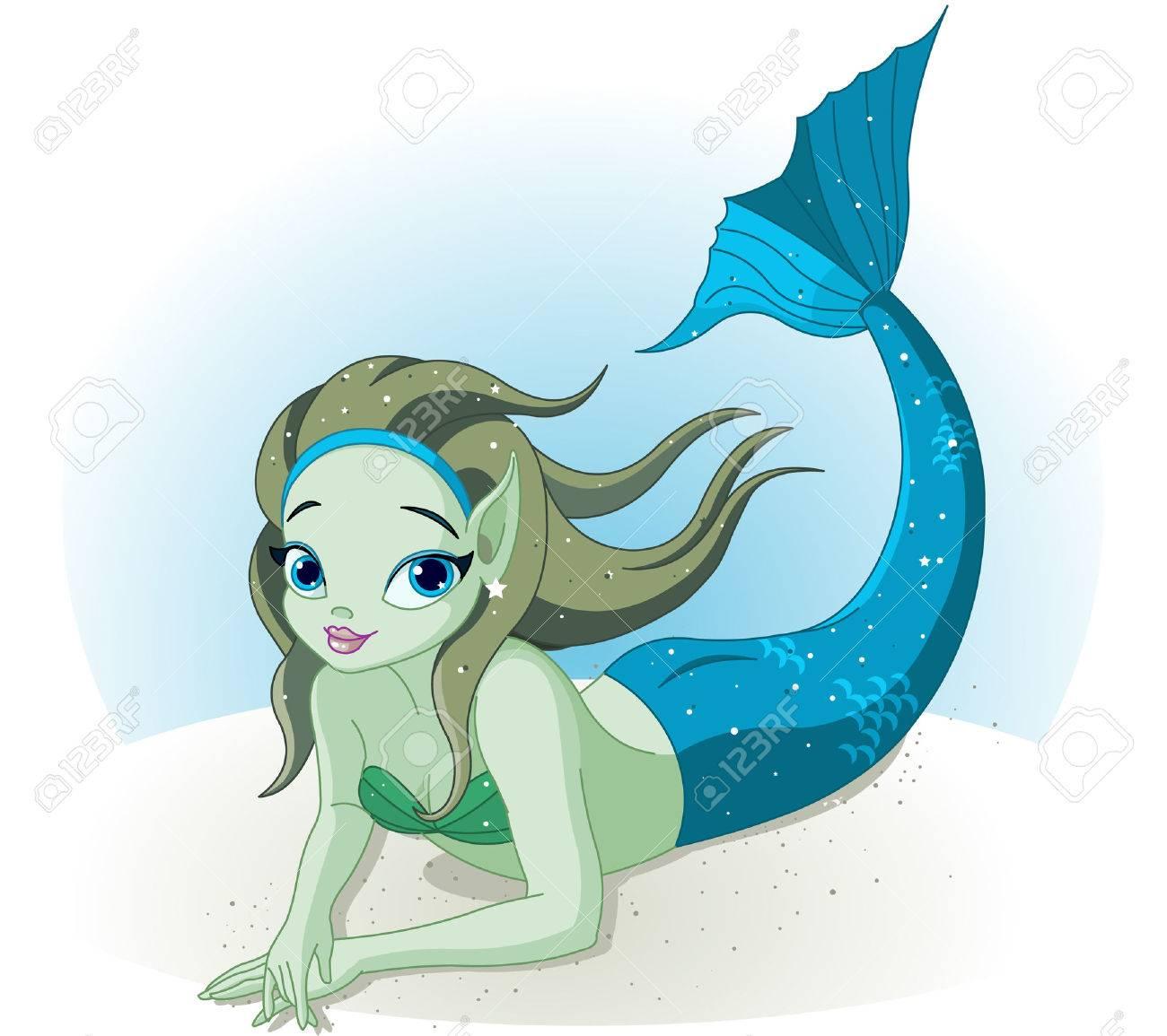 a cute mermaid girl under the sea Stock Vector - 7361987