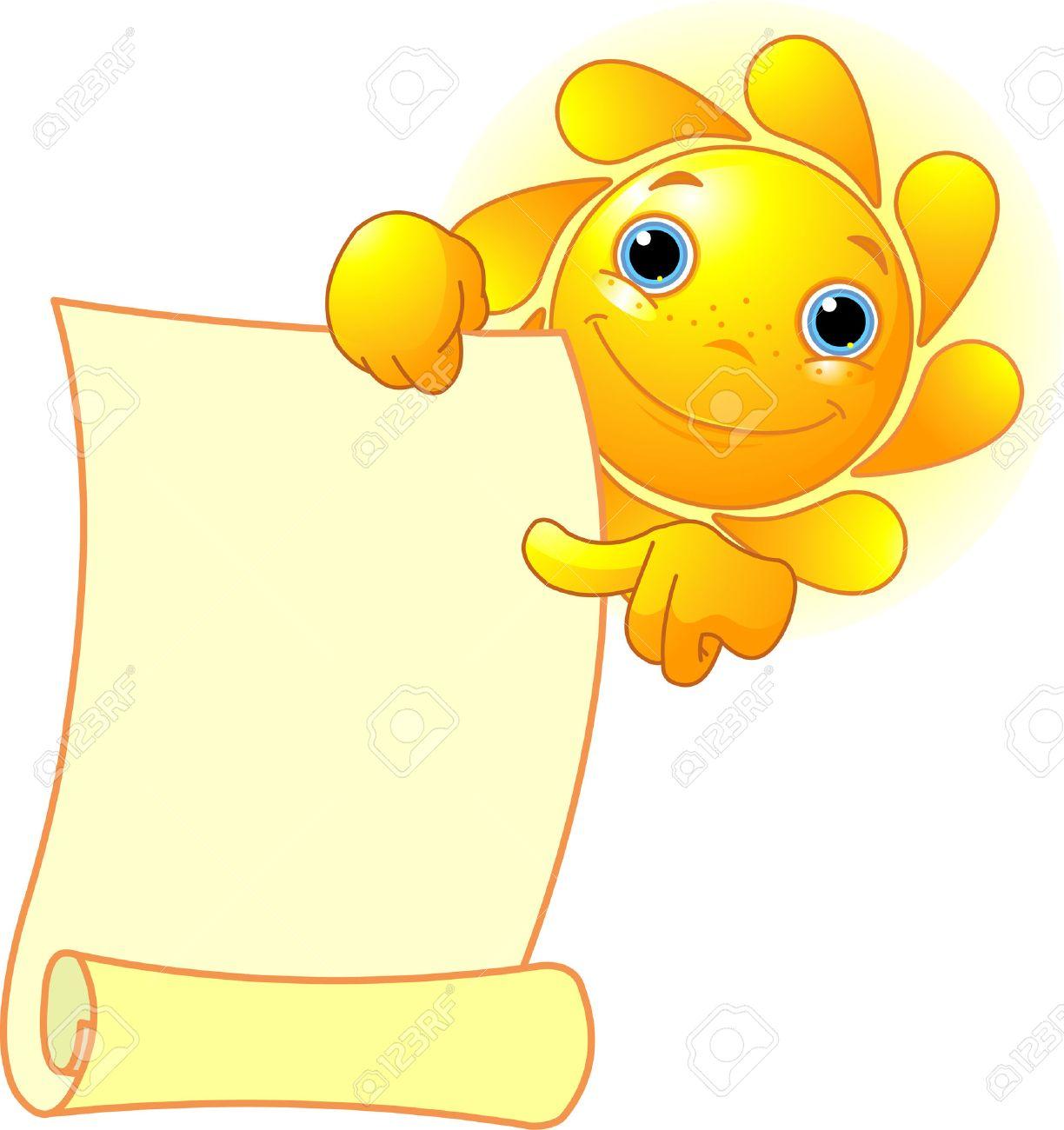 Cute summer Sun shows a scroll Stock Vector - 7361988