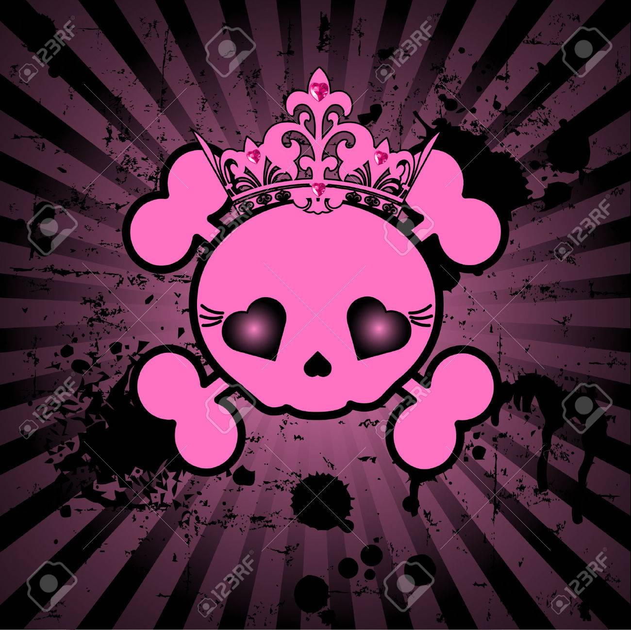 Very cute Skull with crown on grange radial background with place for copy/text Stock Vector - 7407582