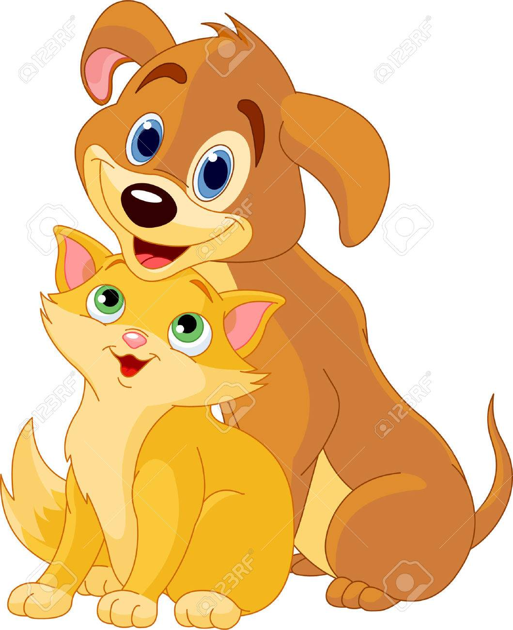 cute dog and cat best friends ever royalty free cliparts vectors