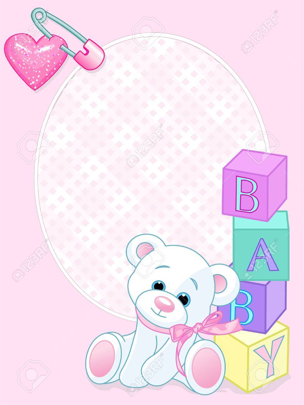 Pink design with Teddy Bear and word Stock Vector - 7513345
