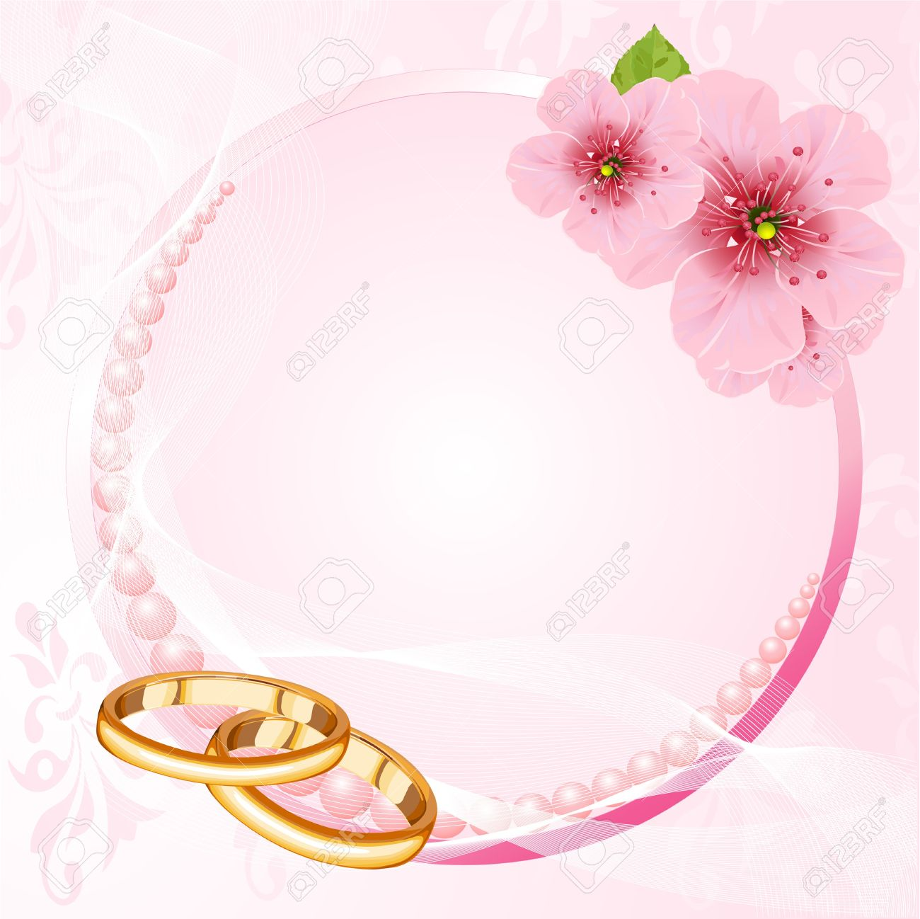 Wedding Rings And Pink Cherry Blossom Design Royalty Free Cliparts ...
