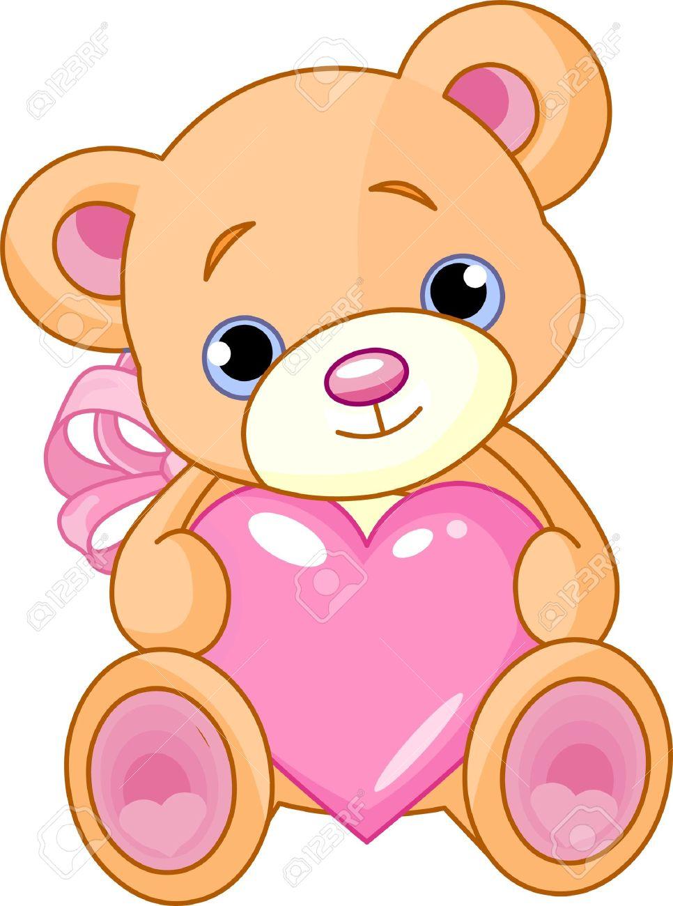 Uncategorized How To Draw A Cartoon Teddy Bear illustration of cute little teddy bear holding pink heart royalty stock vector 7628241