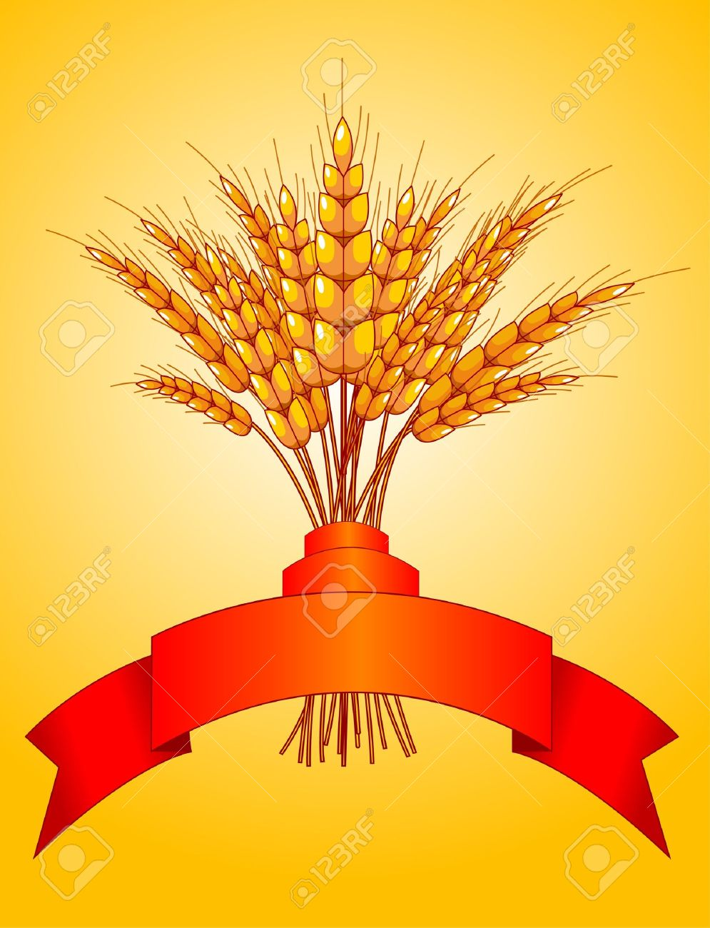 Illustration desing of ears of wheat on yellow background Stock Vector - 7645376