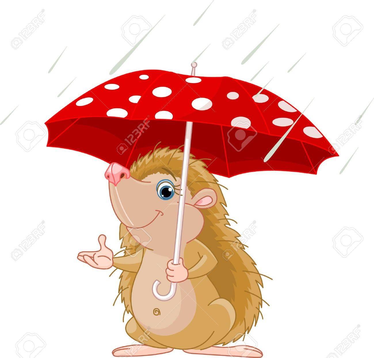 Cute little Hedgehog under umbrella presenting - 7684742