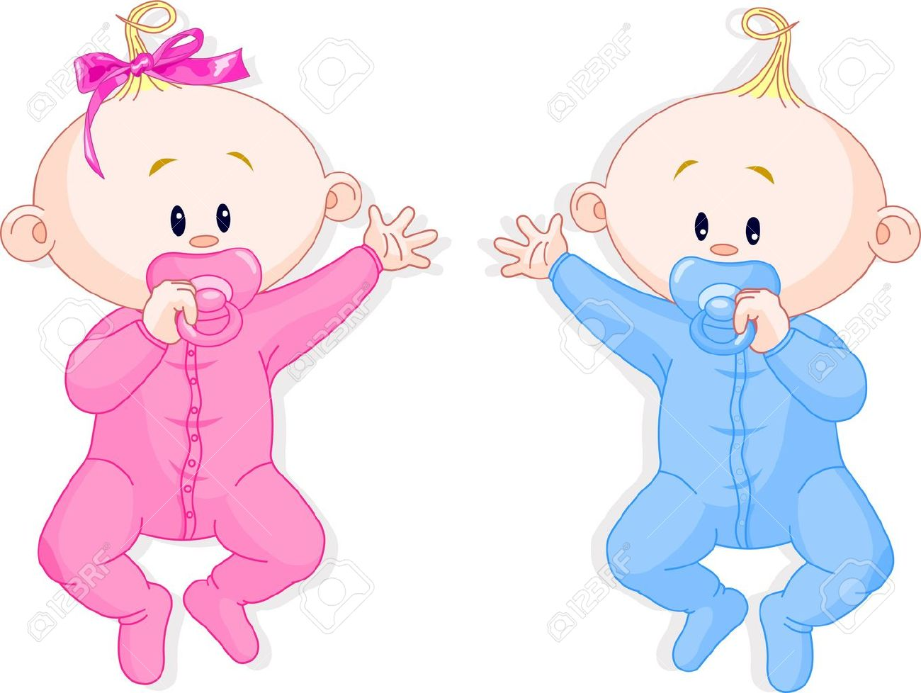 Two baby twins lie and keep the pacifiers - 7734587