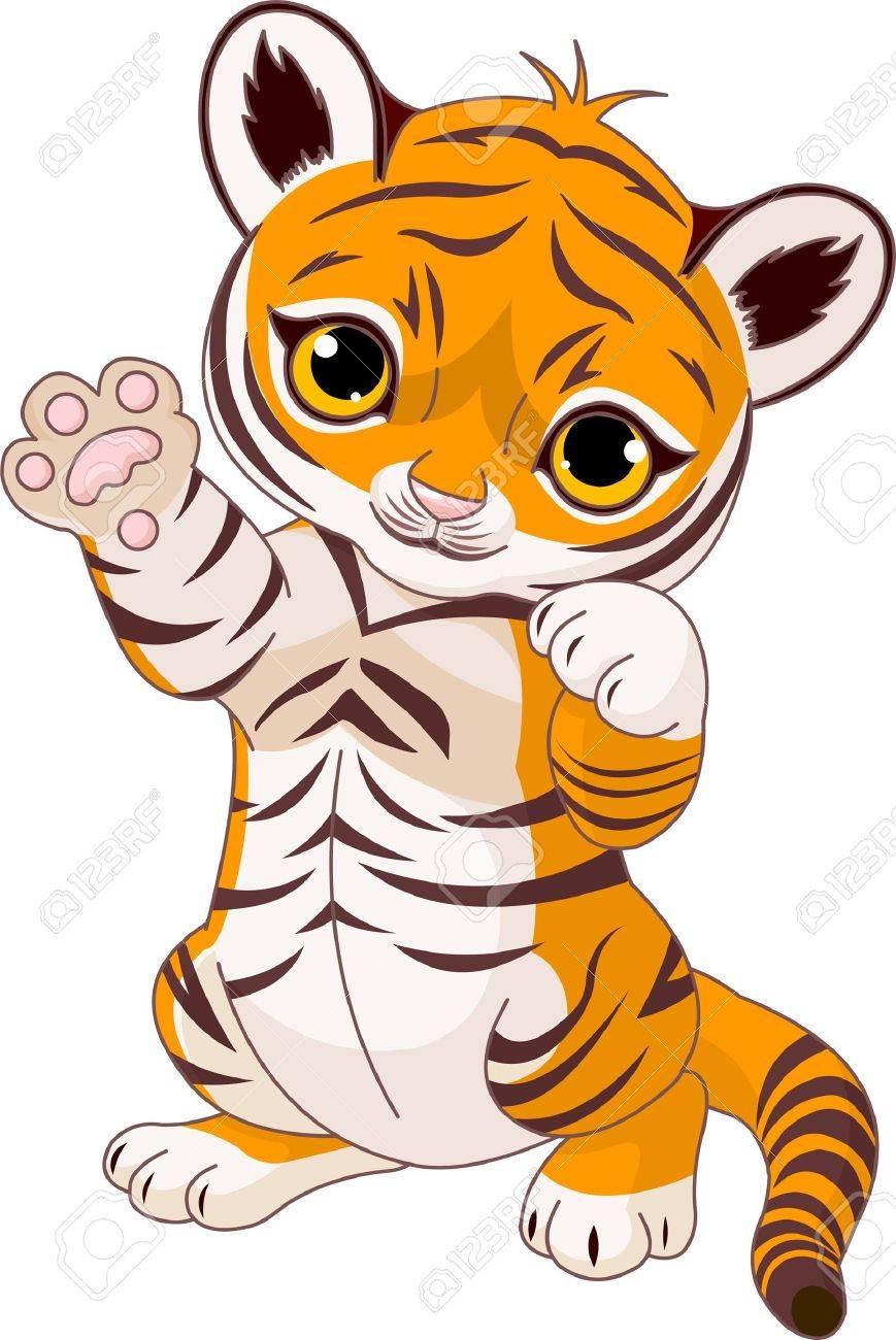 Illustration of  cute playful tiger cub  waving hello Stock Vector - 7734586