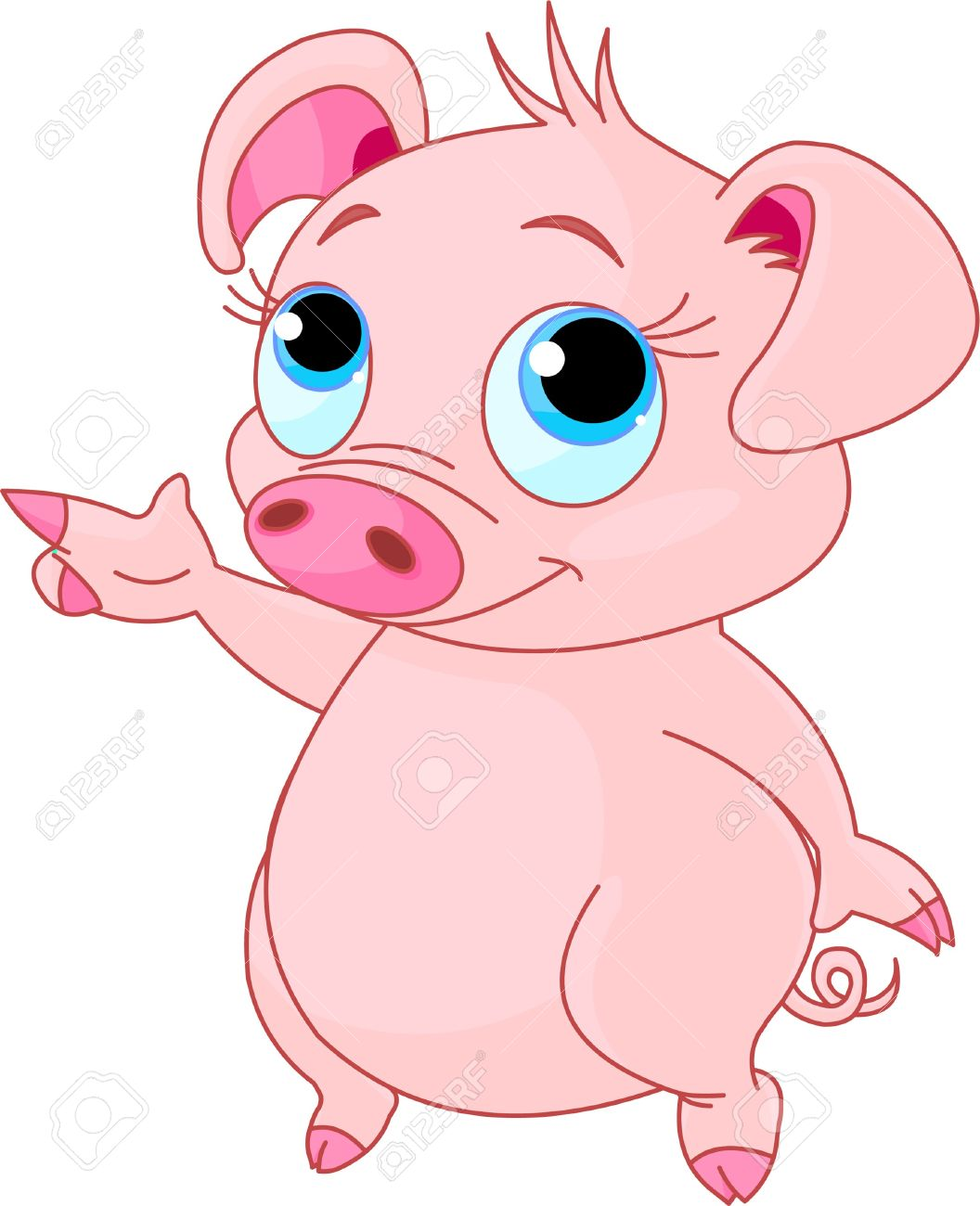 Cute baby piglet pointing (showing, presenting) Stock Vector - 7734585