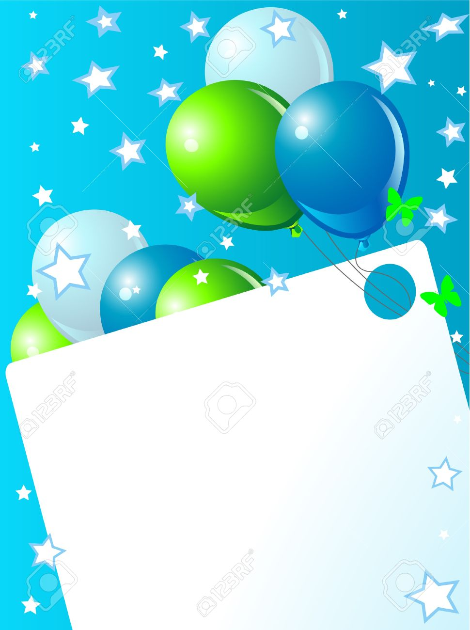 Green and blue balloons - Blue Birthday Card With Balloons Hat And Plenty Of Copy Space Stock Vector