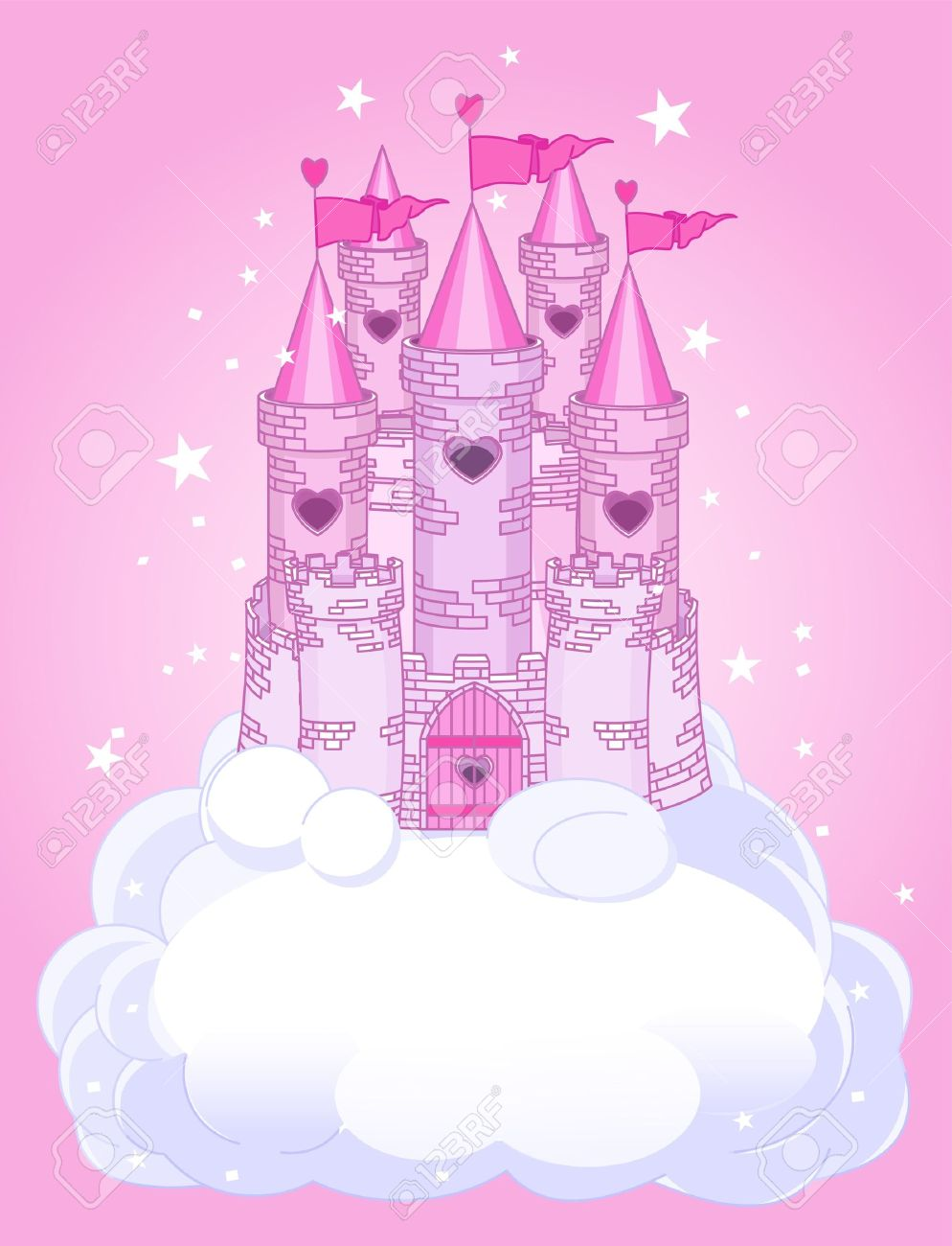 Illustration of a Fairy Tale princess castle in the sky Stock Vector - 7822793