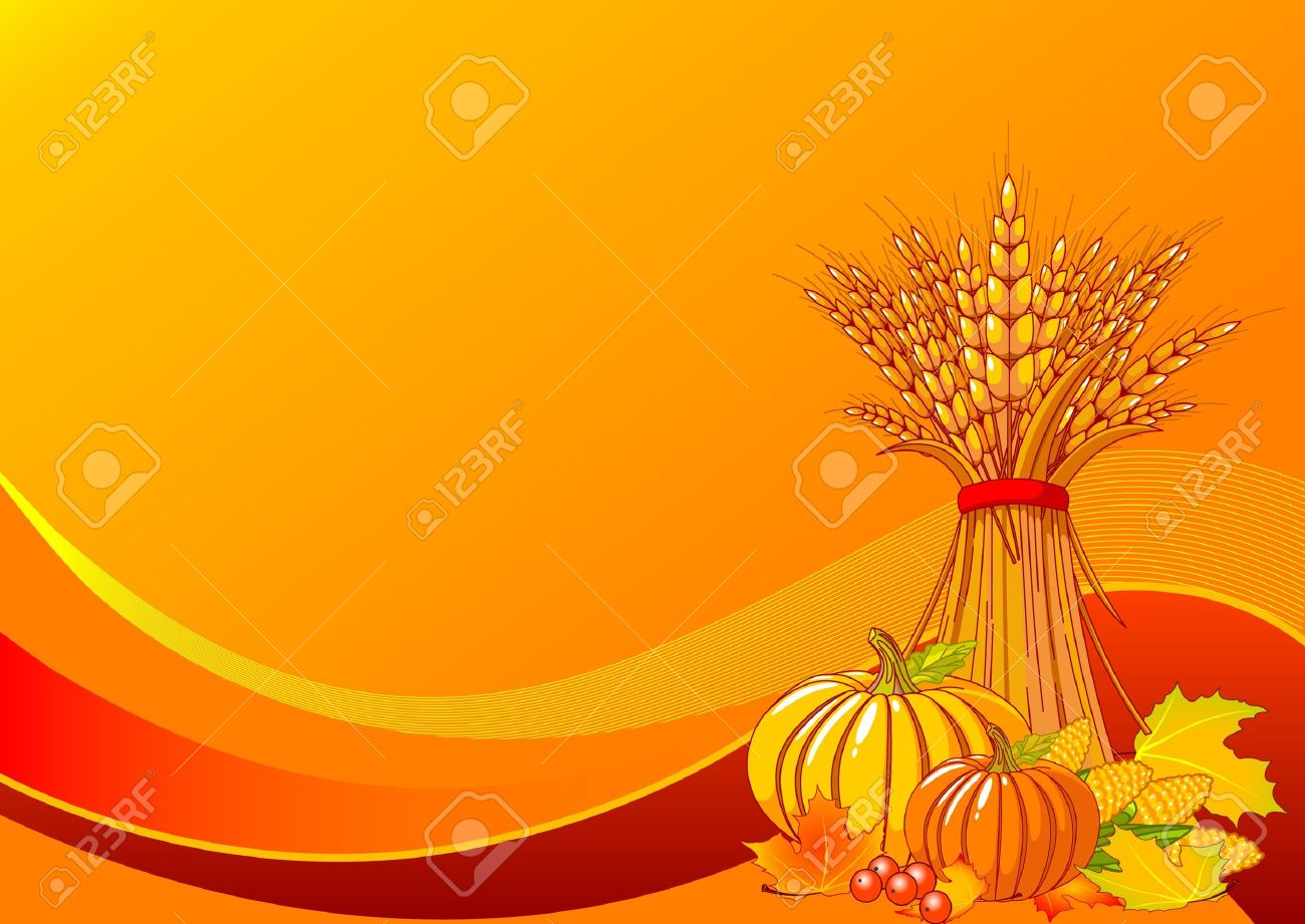 Seasonal background with plump pumpkins, wheat, corn and autumn leaves - 7822801