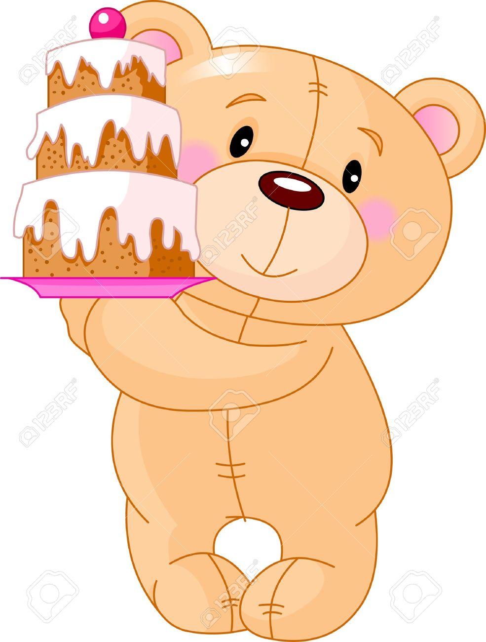 誕生日ケーキをもたらすかわいいテディベアのイラストのイラスト素材