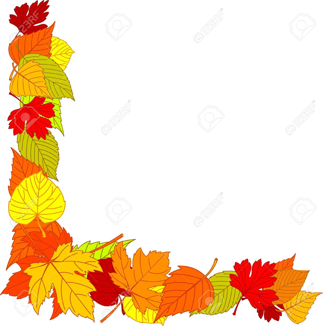 fall leaves page corner borders royalty free cliparts vectors and rh 123rf com Autumn Sun Clip Art Fall Clip Art