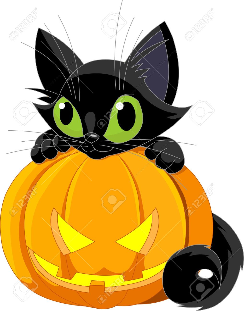 Delightful A Cute Black Cat On A Halloween Pumpkin. Stock Vector   7879532