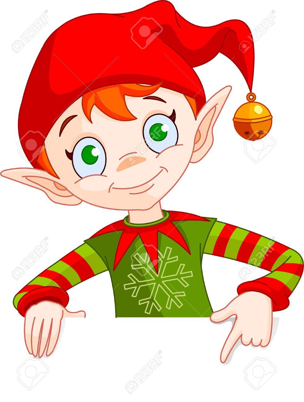 クリスマスのエルフを保持し、空白の白い印までの clipart イラスト