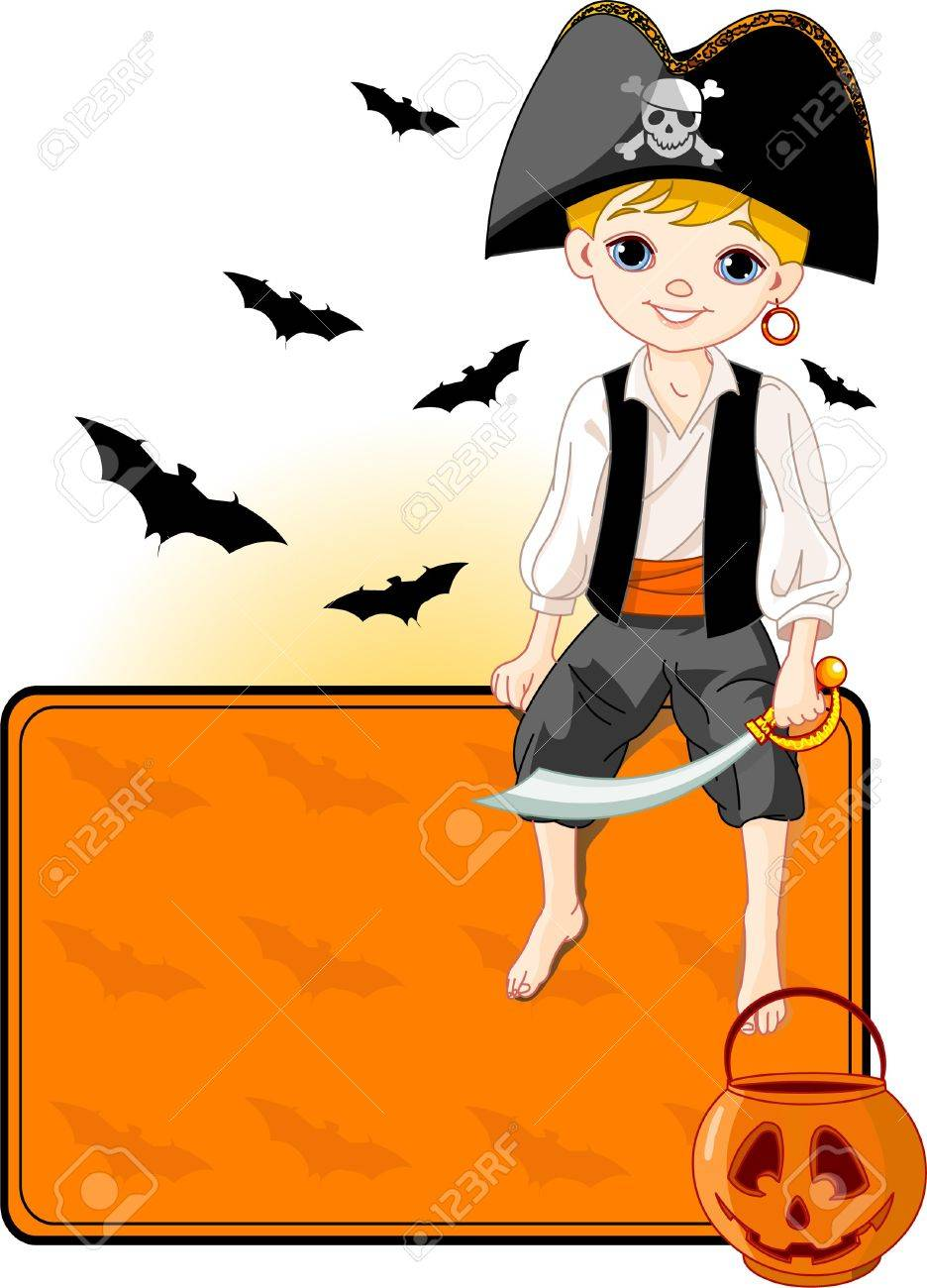 Illustration for Halloween with a cute pirate sitting on place card. All objects are separate groups Stock Vector - 7879539