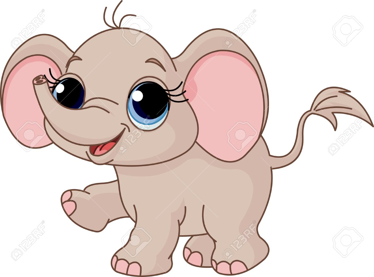 illustration of cute and funny baby elephant royalty free cliparts