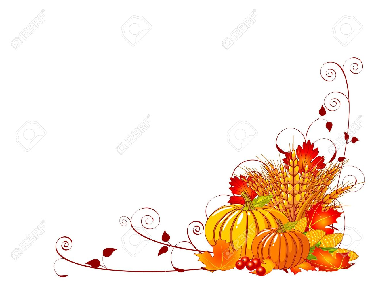 Seasonal background with plump pumpkins, wheat, corn and autumn leaves Stock Vector - 7911697