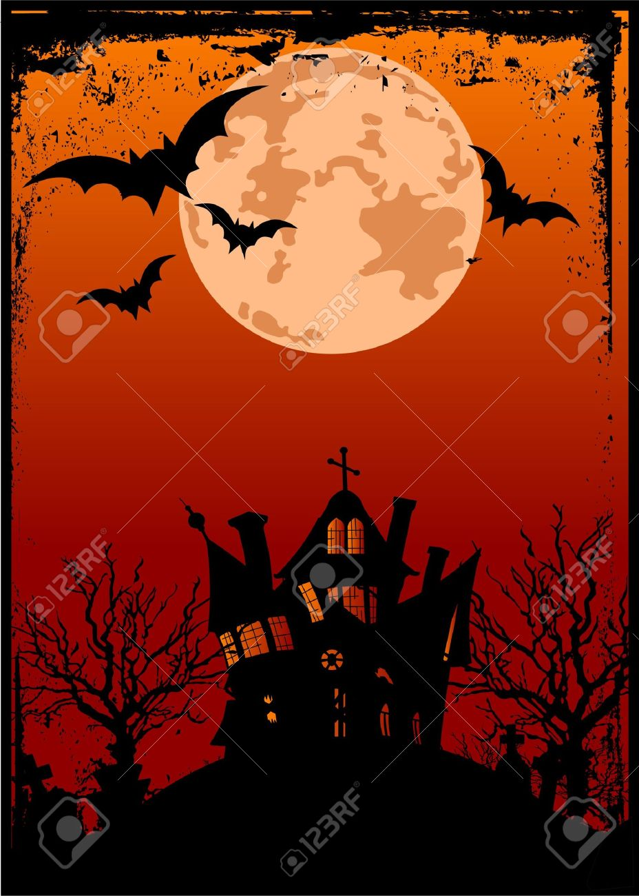 Grunge Halloween background with haunted house, bats and full moon Stock Vector - 8008623