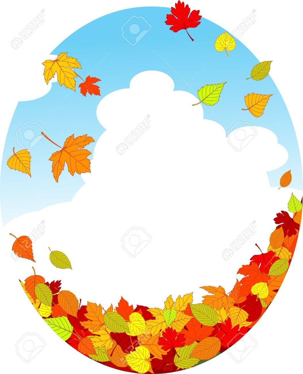 Autumn background with falling leaves Stock Vector - 8008628