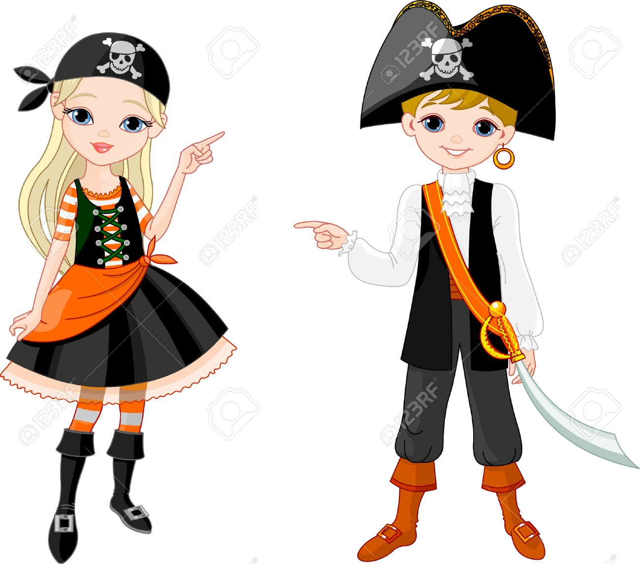 Two Pointing Kids Dressed As Pirates For Halloween Party Royalty ...