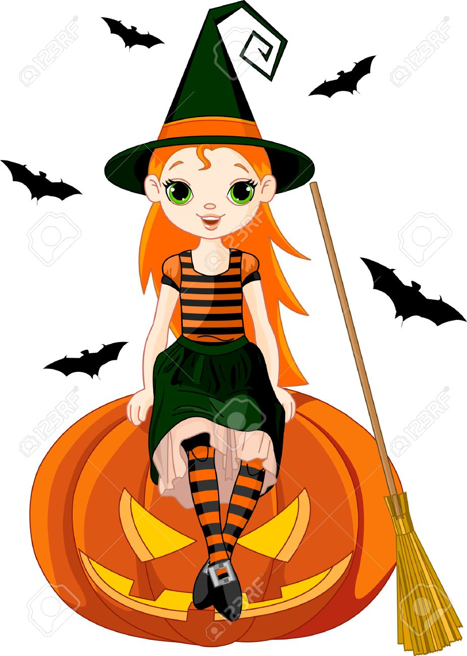 Illustration for Halloween with a cute witch  sitting on on pumpkin Stock Vector - 8077408