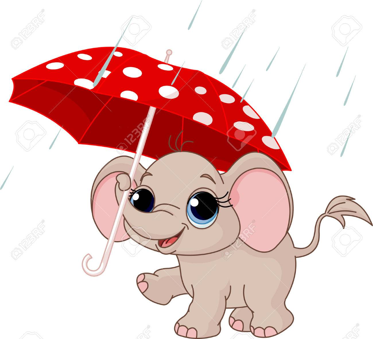 Illustration of Cute and funny baby elephant under umbrella Stock Vector - 8077421