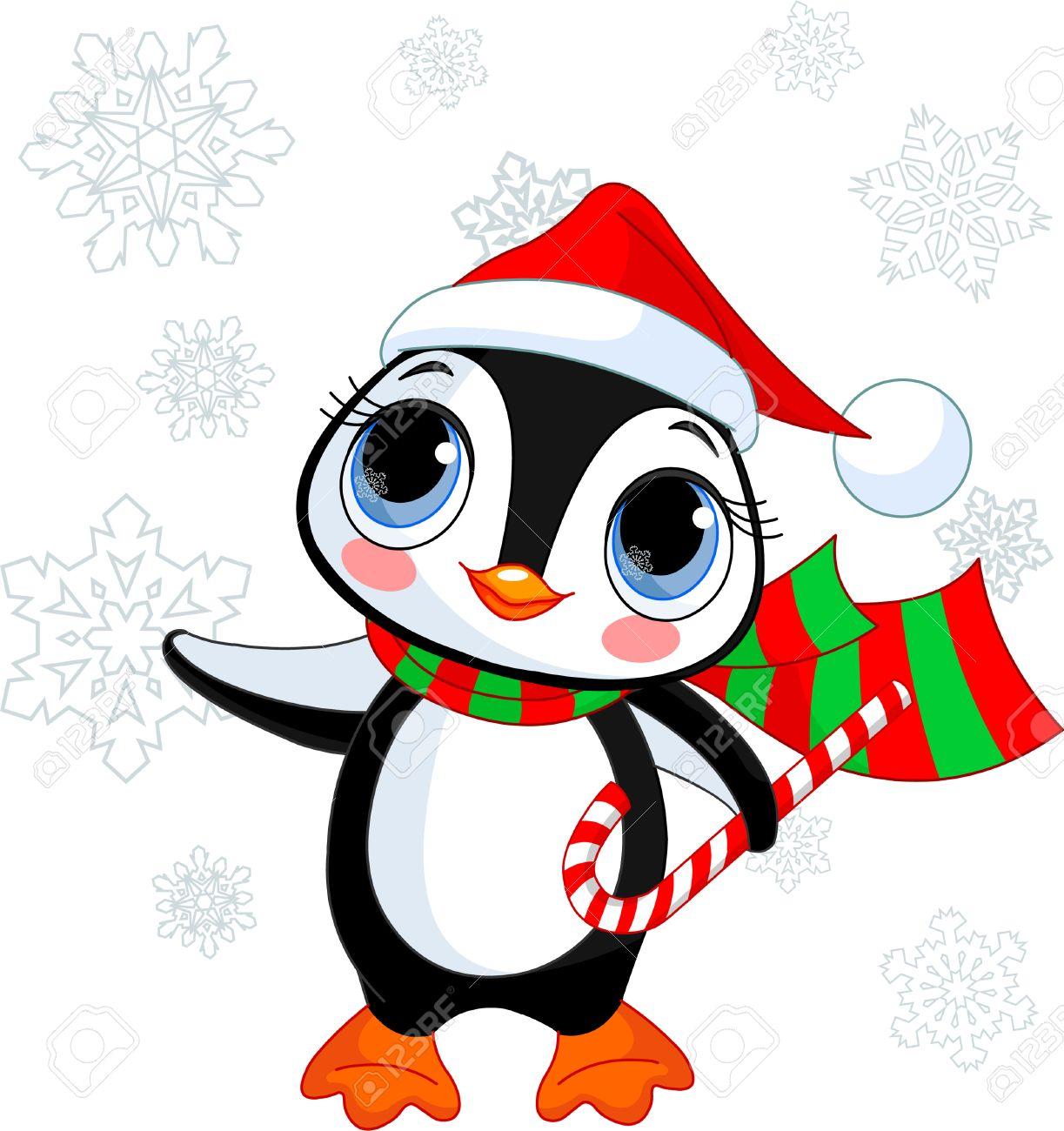 Lindo De Pingüino De Navidad Con Sombrero De Santas Y Bufanda