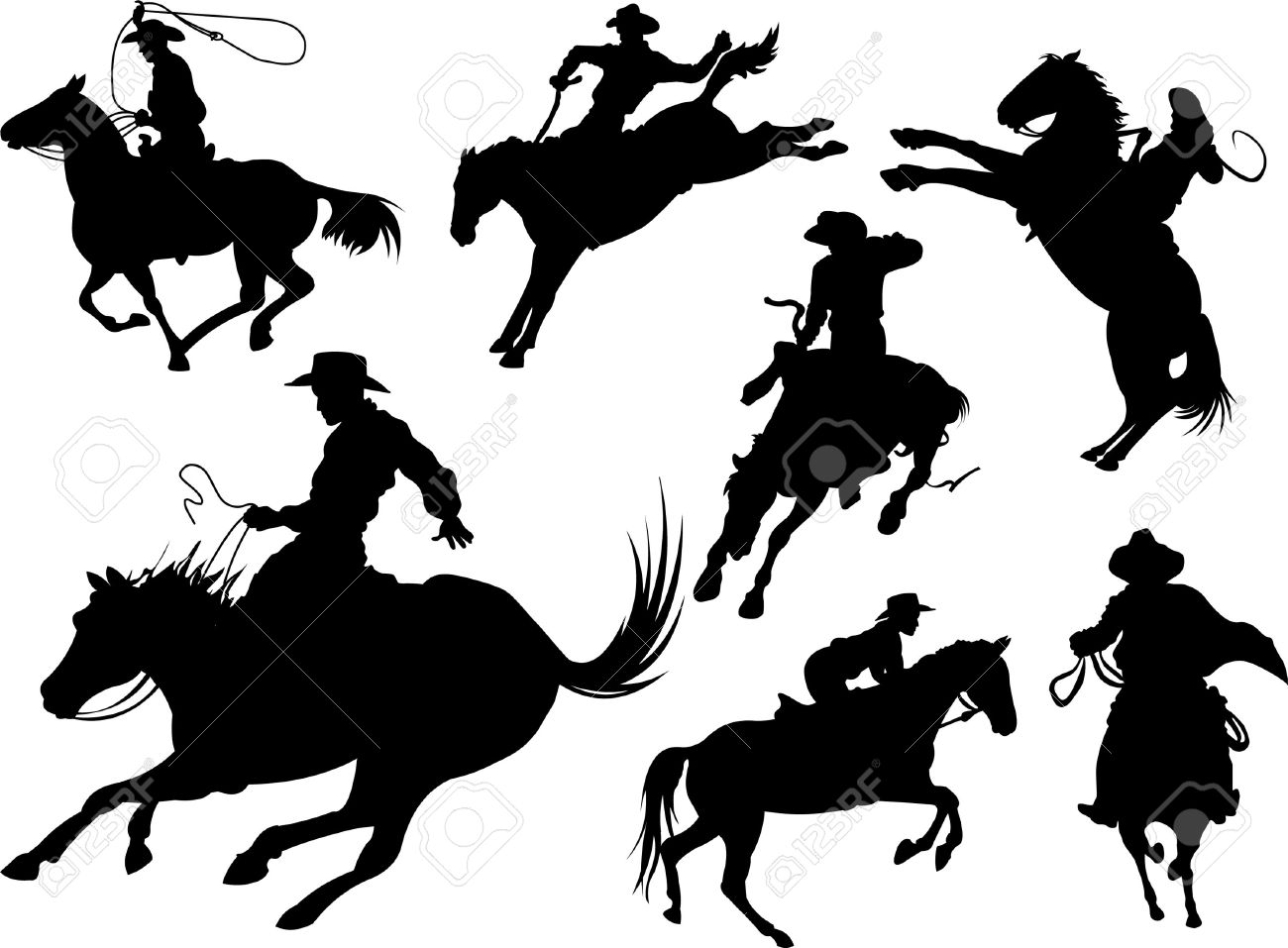 Horse Silhouette Cowboys on Horses Silhouettes